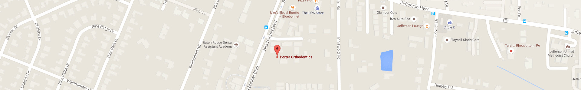Map at Porter Orthodontics Baton Rouge LA
